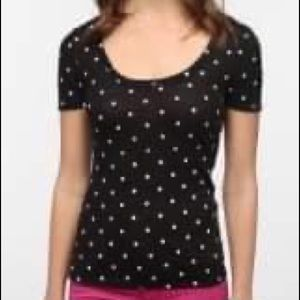 URBAN OUTFITTERS BDG Polka Dot Scoop Neck Tee Sz L